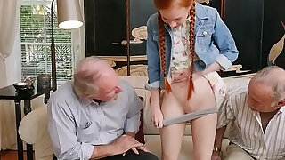 Tiny redhead sucks and fucks her ass with pensioner - 5:00