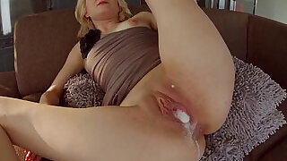 All Internal Threesome with a double creampie for blonde newbie - 14:00