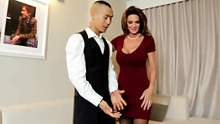 Classy cougar fucking lucky room service guy - 10:00