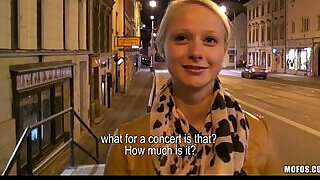 Cute blonde student is paid for sex in public - 10:00