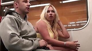 Big tits slut girl Stella Fox PUBLIC sex threesome in a subway train with two guys - 10:00