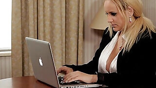 Busty secretary assfucked by black boss - 10:00