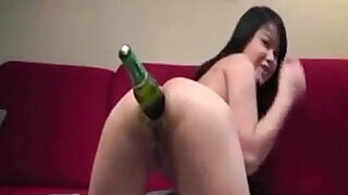 Asian Camgirl Inserting Beer Bottle In Her Ass - 7:00