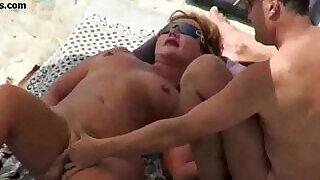 Nude BEACH Mature VOYEUR 3some - 13:00