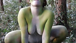 Stark naked Japanese fat frog lady in the swamp HD - 3:00