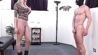 Blonde femdom amazon dominates in pantyhose - 2:00