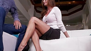 Busty MILF footworshiped on the couch - 6:00