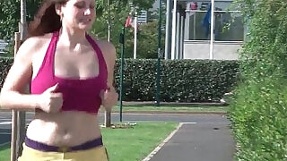 Gorgeous french redhead deep hard anal fucked at gym - 28:00