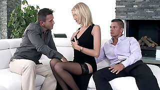 Glamour babe creampied anally in threesome - 6:00