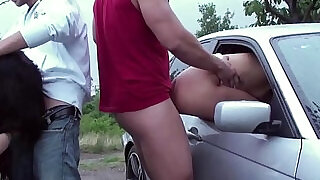 Girl stuck her ass out the car window for anyone to fuck a public sex gang bang orgy - 10:00