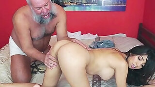 Mexican Frida Sante enjoys to suck and ride on an old cock - 5:00