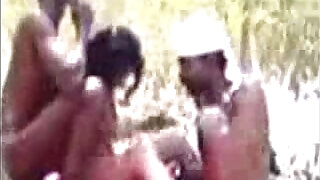Tamil Aunty in Threesome Group with Neighbor Mans at Outdoor - 5:00