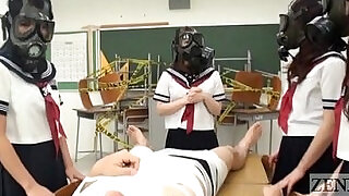 CFNM Gas Mask Japanese schoolgirls inspection Subtitled - 5:00