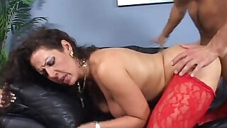 Step mom with big tits banged in doggy on couch - 7:00