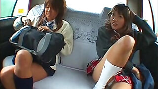 Asian schoolgirl and taxi driver making sex in the car - 7:00