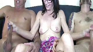 Upskirt mature tugging two cocks at sametime - 5:00