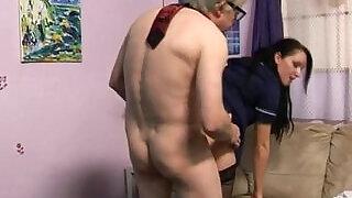 Sexy domina fucks geezer - 5:00